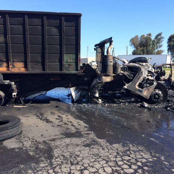 Modesto Dump Truck Fire