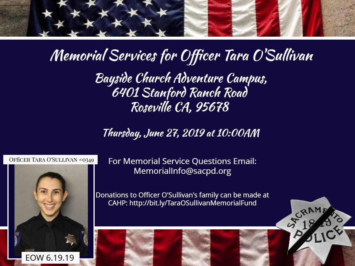 Officer O Sullivan S Memorial Service Scheduled For Thursday