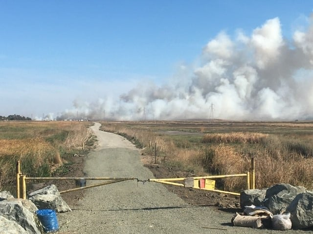 Fire burns near Highway 12, Travis AFB