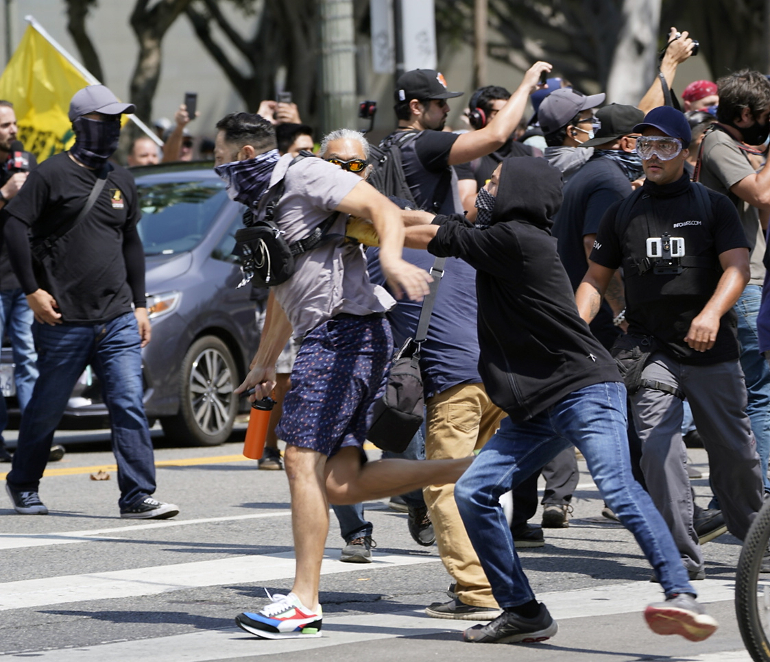 LAPD Blames Antifa for Violence at Proud Boys' Anti-Vaccine Rally
